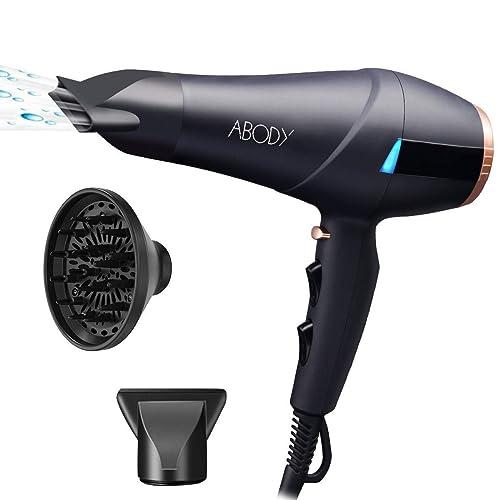 Abody 2300W sèche cheveux professionnel ionique 2 vitesses et 3 niveaux de température Bouton d air froid Inclus diffuseur et embout concentreur d air Nior