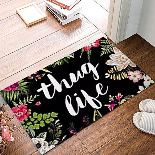 Thug Life Flowers Door Mats Indoor Kitchen Floor Bathroom Entrance Rug Mat Carpets Home Decor Absorbent Bath Doormats Rubber Non Slip 18 x 30 Inch
