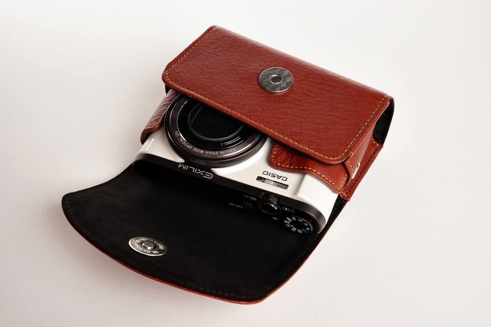 Handmade Genuine Real Leather Full Camera Case Bag Cover for Casio EX-ZR3500 ZR3500 Brown Color