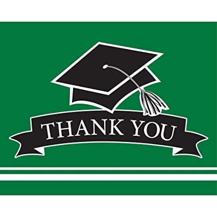 Creative Converting 320064 School Spirit Graduation Thank You Notes, One  Size, Emerald Green