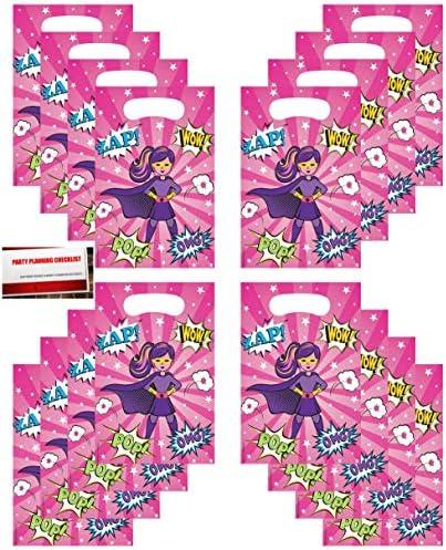 スーパーヒーローガール (16個パック) ガールズ バースデーパーティー プラスチックルートおやつ キャンディ記念バッグ (加えて Mikes Super Store によるパーティープランニングチェックリスト)