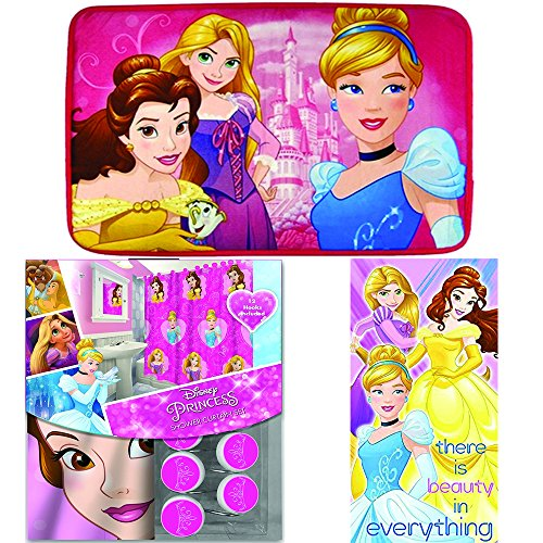 Disney Marvel New Shower Curtain & Hooks & Bath Towel & Memory Foam Mat Set (Princess, 15pcs Set)