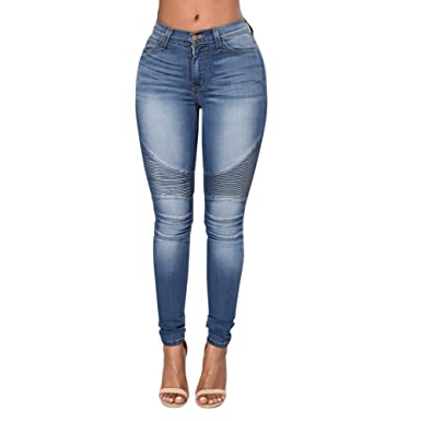 Chouette Pantalons Femme Denim Printemps Jeans Mince Taille Haute Leggings  Collant Casual Crayon Déchirés (FR34 a6e1a1d58b9