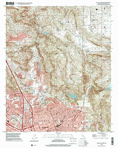 YellowMaps Valley Center CA topo map, 1:24000 Scale, 7.5 X 7.5 Minute, Historical, 1996, Updated 2000, 26.9 x 21.5 in - Tyvek