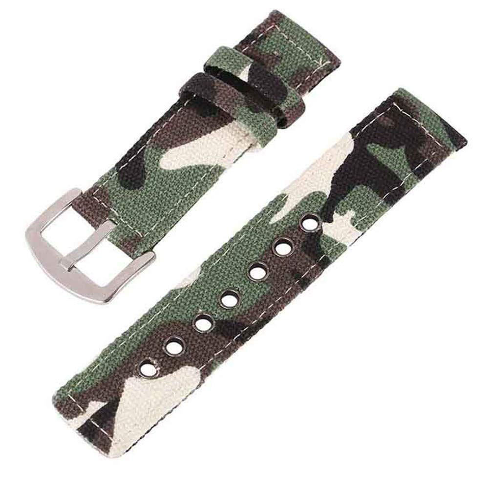 22mm Army Green Camouflage Canvas Watch Strap for Men and Women 2 Piece NATO Straps Premium Watch Bands Replacement