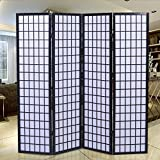 Giantex 4-Panel Room Divider Solid Shoji Wood Folding Privacy Screen Black