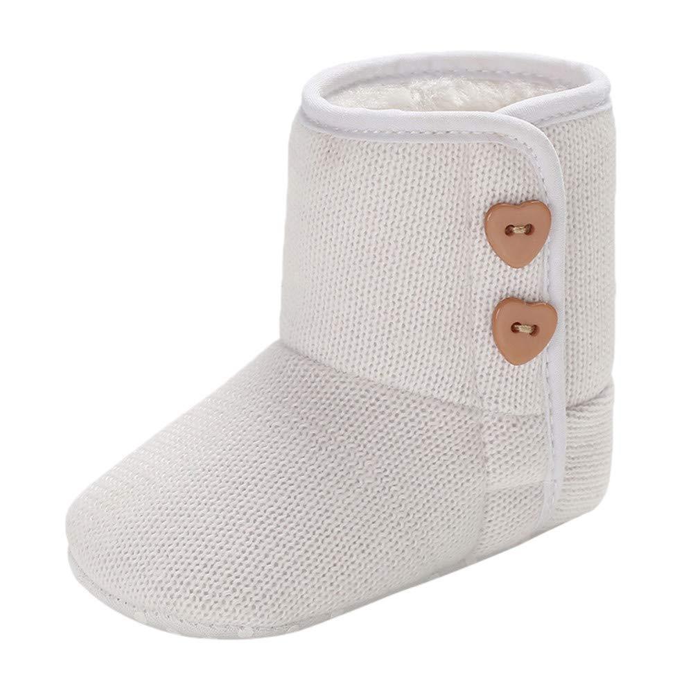 Tronet Baby Girls Winter Cashmere Button Boots Infant Newborn Prewalker Warm Shoes For 0-18 Months (3.5(0~6 M), White)