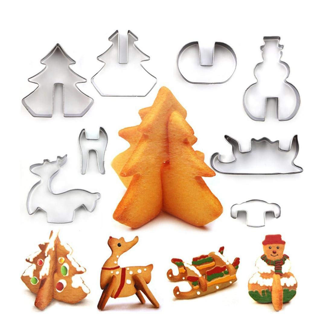 ICCUN Creative Stainless Steel Christmas 3D Type Cracker Cookie Mold Candy Making Molds by ICCUN