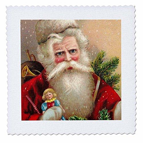 3dRose qs_171459_2 Vintage Santa Claus with Doll-Quilt Square, 6 by (Vintage Santa Claus Doll)