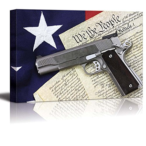 Handgun Lying Over a Copy of the United States Constitution and the American Flag Wall Decor