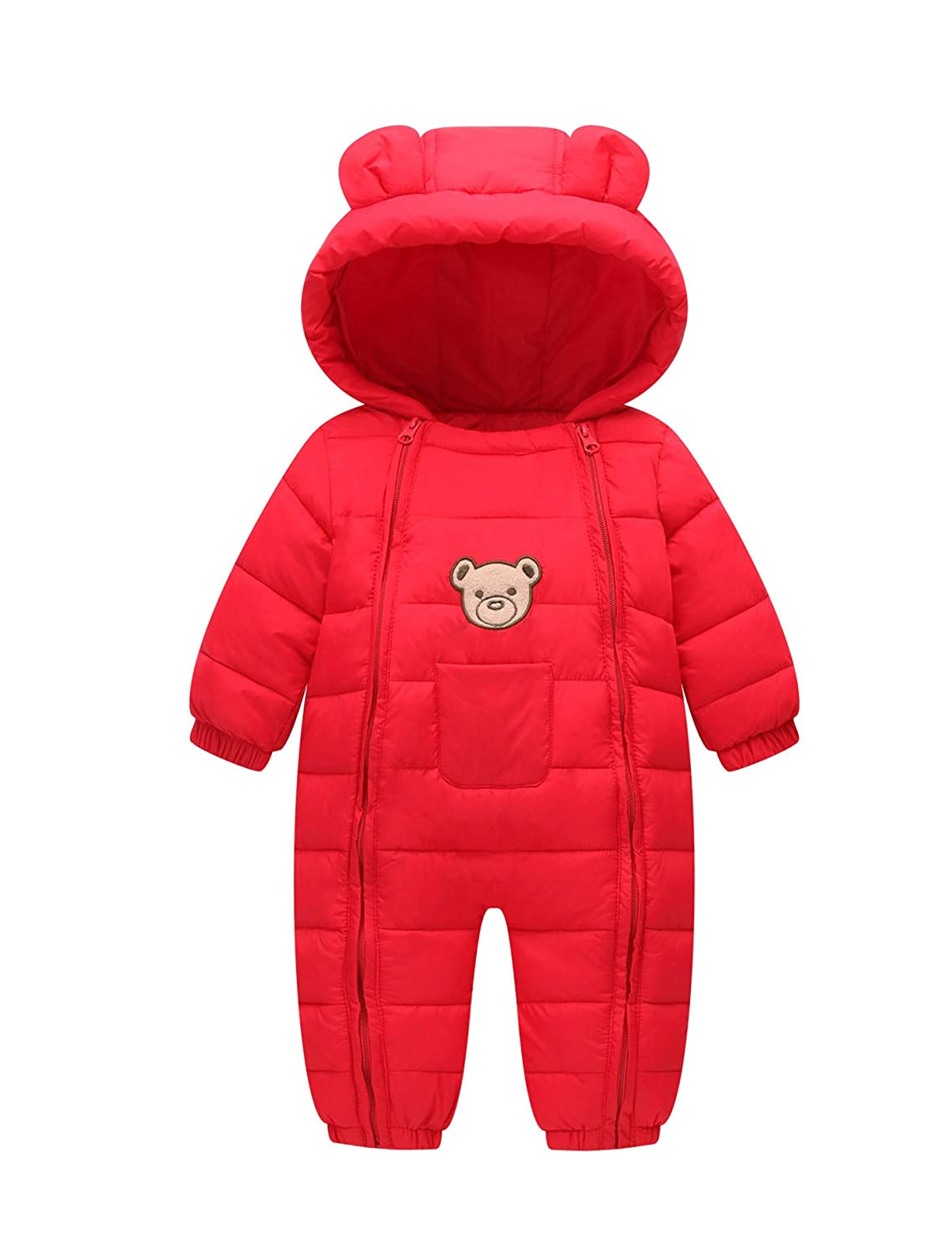 Baby Cotton Snowsuit Toddler Double Zipper Hooded Puffer Winter Thermal Romper XX01-12
