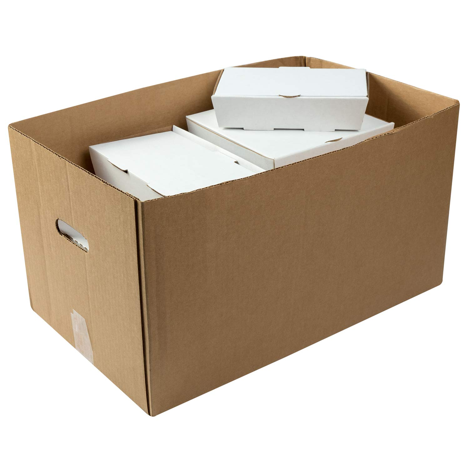 Kraft 22 x 13 x 12-1//2 Corrugated Handle Carry Out Box Case of 25