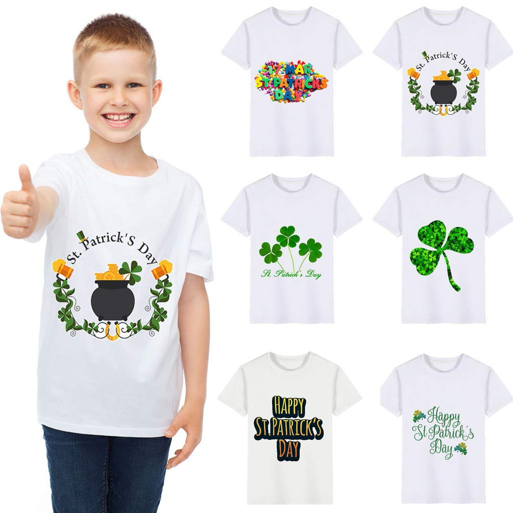 Boys T-Shirts,Clover Print Kids Wild Tops,St. Patrick's Day Memorial Clothing Boy Tee 2~6 Years Old(A,120) by Wesracia (Image #1)