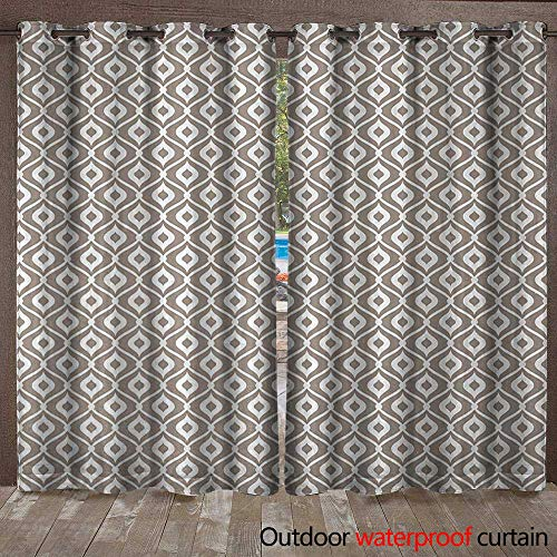 (BlountDecor Abstract Grommet Top Curtain Waves Curvy Motifs Mosaic Tile Pattern Old Fashioned Design with Retro EffectW108 x L96 Taupe)