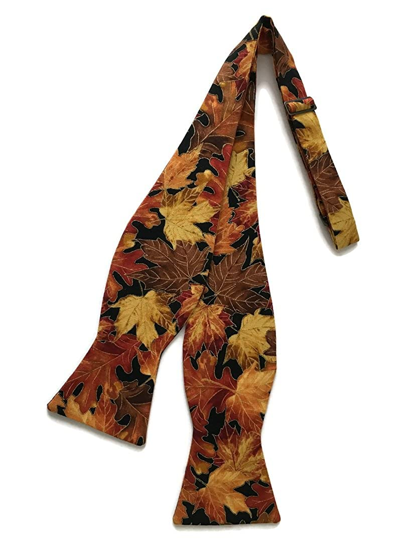 Men/'s Self-tie Bow Tie Vintage Autumn Leaves with Gold Metallic