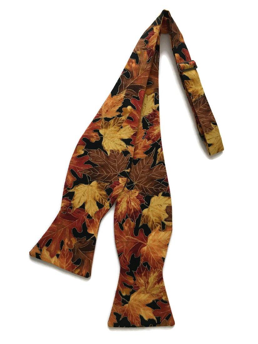 Holiday Bow Ties Boys Self-tie Bow Tie Vintage Autumn Leaves Metallic, Boys (Boys)