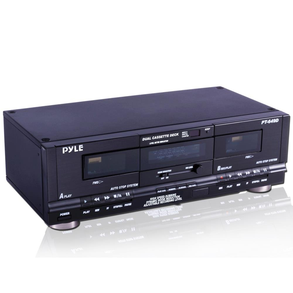 Pyle Home Dual Cassette Deck | Music Recording Device with RCA Cables | Removable Rack Mounting Hardware | CrO2 Tape Selector | Built-in 3 Digit Tape Counter - 110V/220V by Pyle