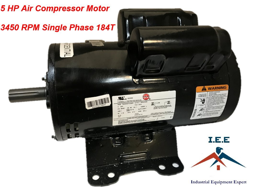 56283138 23378805 Ir Replacement Air Compressor Motor Single Phase Wiring Diagram How To Wire 5hp 184t Frame Open Drip Proof Enclosure Output 3450rpm 60hz 208 230v Voltage