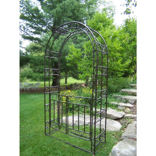 Oakland Living Arbor with Gate and Base, Hammer Tone Brown ()