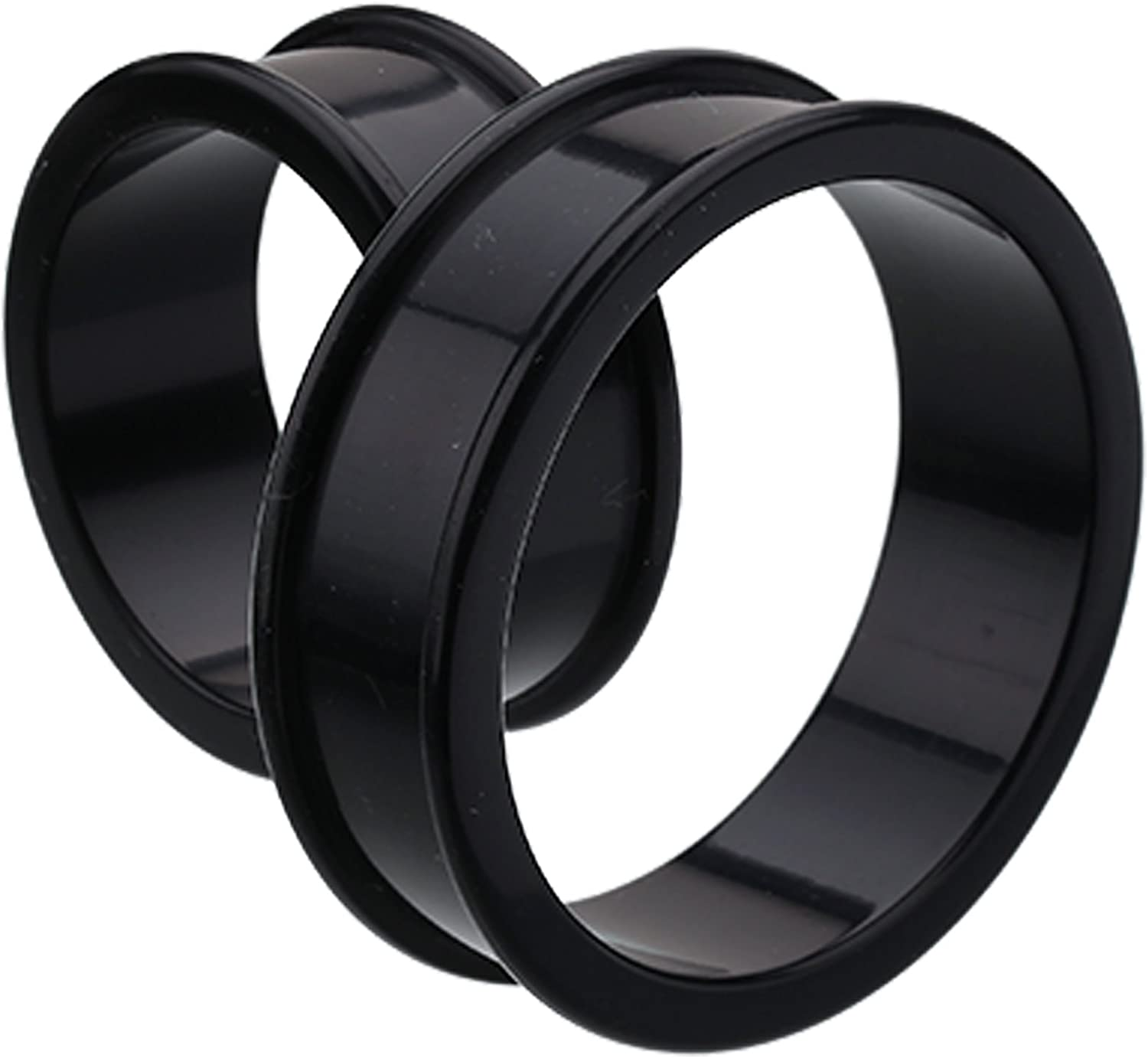 Sold as a Pair Black Plugs Supersize Flexible Silicone Double Flared Ear Tunnel Plug Cosmic