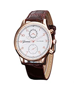 Auwer Luxury Fashion Faux Leather Mens Quartz Analog Watch Watches (Brown)