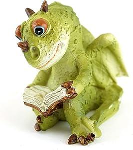 Top Collection Miniature Garden Dragon Reading Book