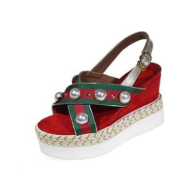 DANDANJIE Sandales pour femmes Summer Pearl Décoration talon compensé Open Toe Shoes pour Casual Date Shopping