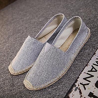 YFF Rein handgemachte Canvas Schuhe und Stroh Bettwäsche schuhe Paare Freizeit Schuhe des Alten Peking, 44, Blau mesh