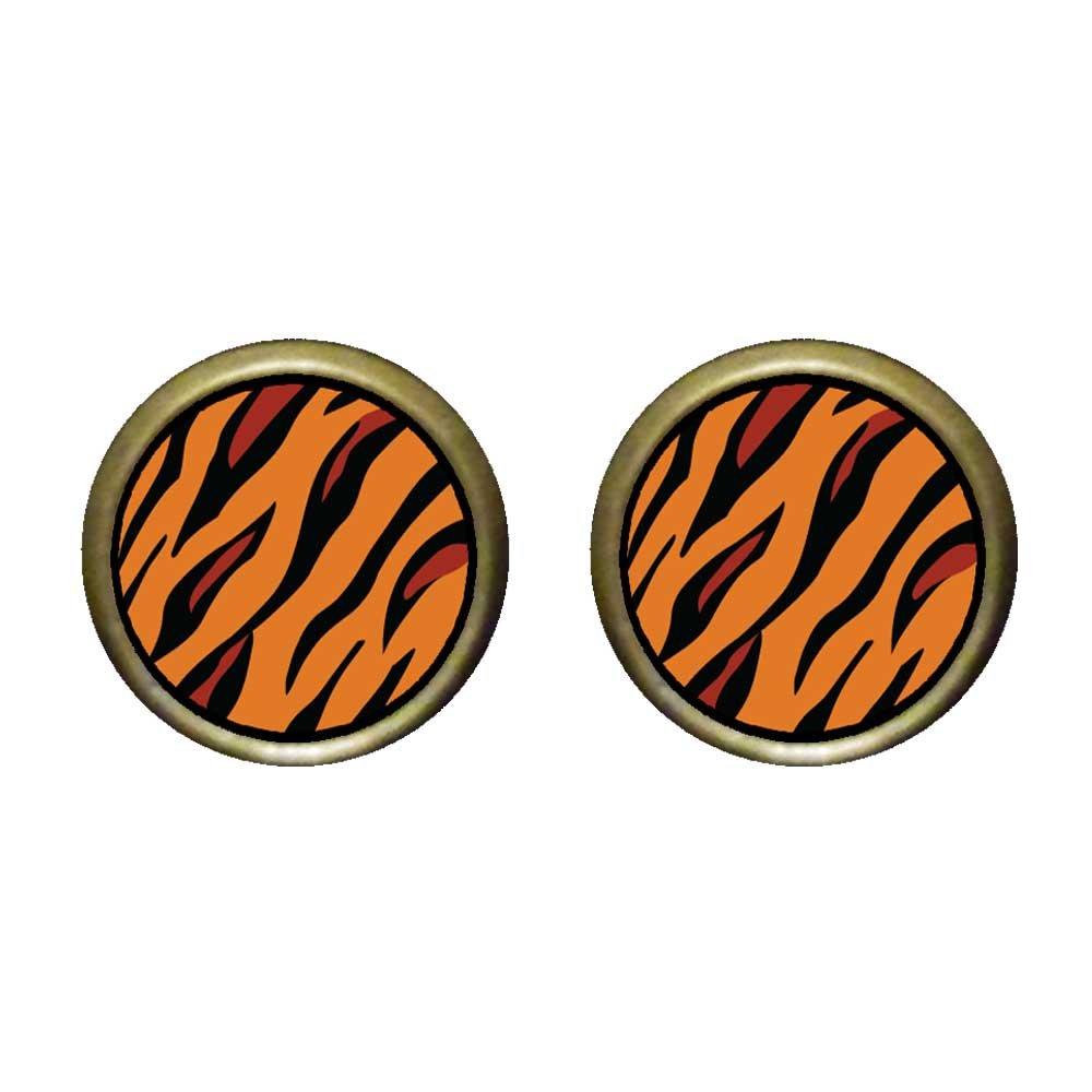 GiftJewelryShop Bronze Retro Style Tiger Skin Photo Stud Earrings 12mm Diameter