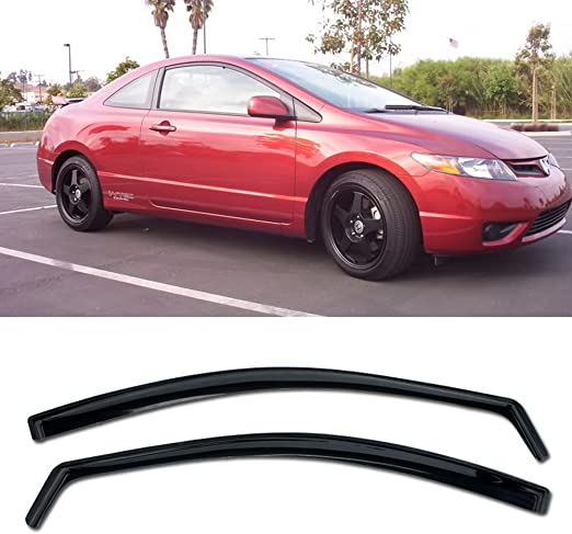 In-Channel Vent Side Window Visors JDM SI OE For 06-11 Honda Civic 2Dr Coupe