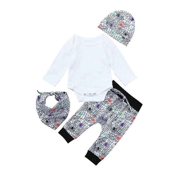 Bestow Sombrero de Halloween 4 Piezas Traje bebé Pantalones araña Ropa en línea Pantalones Toalla de