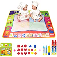 Coolplay 4 Color Children Water Drawing Mat Board and Dinosaur Drawing Book with 5 Water Magic Drawing Pens and 17 Shape's Molds Kids Educational Toy Gift