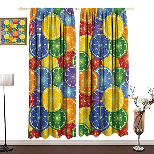 Printed Curtain Abstract Home Decor Colorful Slices of Orange Tropical Fruit Rainbow Color Fun Artful Home W120 xL84 Bedroom Balcony Living Room