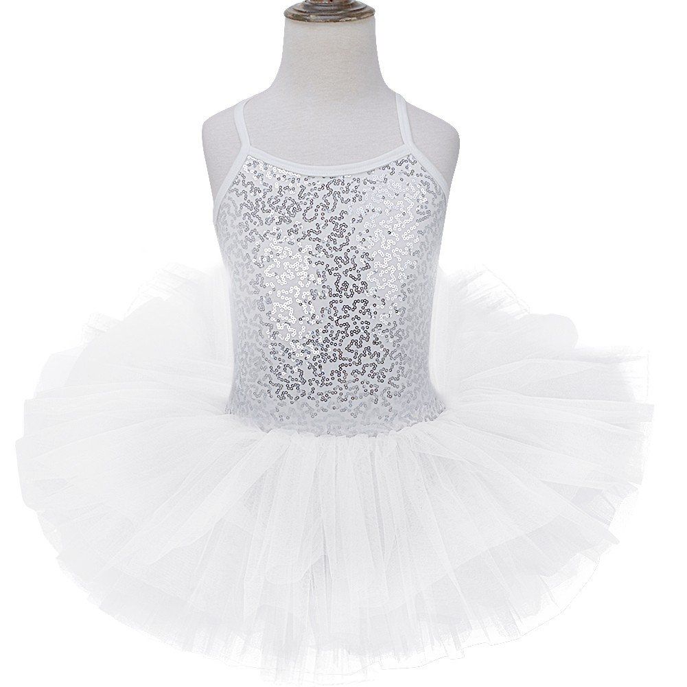 d294a7f1f7b TiaoBug Girls Sequined Ballet Dance Dress Gymnastic Leotard Tutu ...
