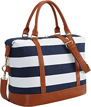 CAMTOP Women Ladies Travel Bag Canvas Weekend Overnight Carry On Luggage Bags Blue