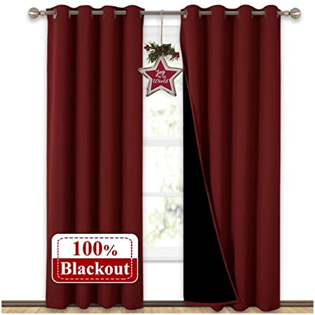 Burgundy And Black Curtains.Nicetown 100 Blackout Curtains With Black Liner Backing Thermal Insulated Curtains For Living Room Noise Reducing Drapes For Christmas Burgundy