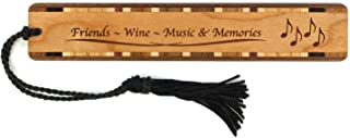 product image for Personalized Friends, Wine, Music and Memories, Engraved Wooden Bookmark with Tassel - Search B01GST6D8E for Non-Personalized Version