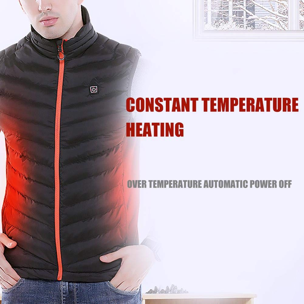 Nicololfle Men Women Electric Battery Powered Heated Vest Rechargeable Puffer Down Gilet,Waterproof Heat Insulate Waistcoat for Sports/&Outdoors,Skiing Skating Climbing Hiking Heat Vests