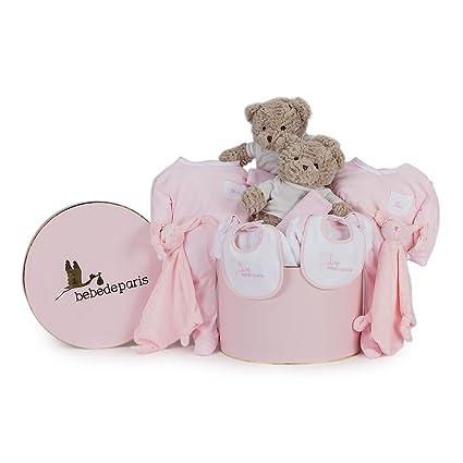 Canastilla Clásica en caja para Gemelos BebeDeParis-Rosa- regalo bebé gemelar para recién nacidos
