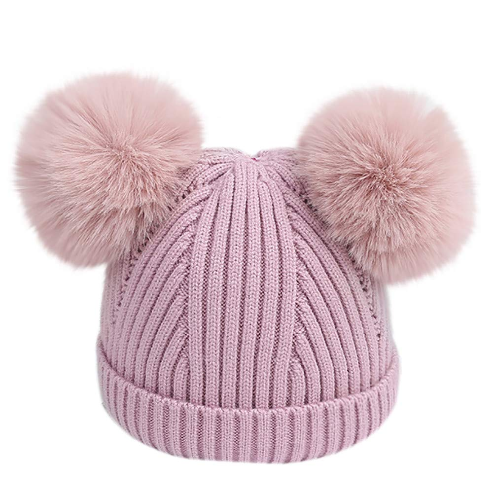 Little Kids Christmas Warm Hat,Jchen(TM) Toddler Infant Baby Kids Boys Girls Venonat Knitted Woolen Headgear Hat Hairball Cap for 0-18 Months (Purple)