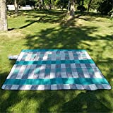 Blue Paided Portable Picnic Blanket Waterproof Beach Mat Outdoor Camping Moistureproof Gift 200 200cm / 78.74 78.74in