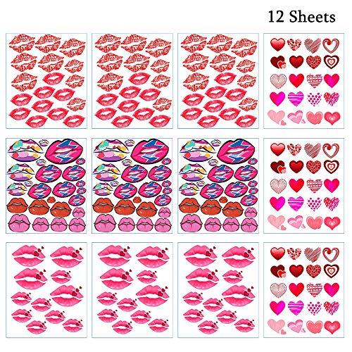 Valentine's Day Temporary Tattoos, Love Heart & Red Lip Sexy Tattoos Stickers with 4 Different Designs, 12 Sheets (Red) ()