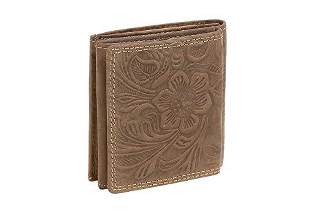 Cartera Monedero pequeña de Piel, Estilo Box para señores y señoras patrón de Flores LEAS, Piel auténtica, marrón - LEAS Vintage-Collection