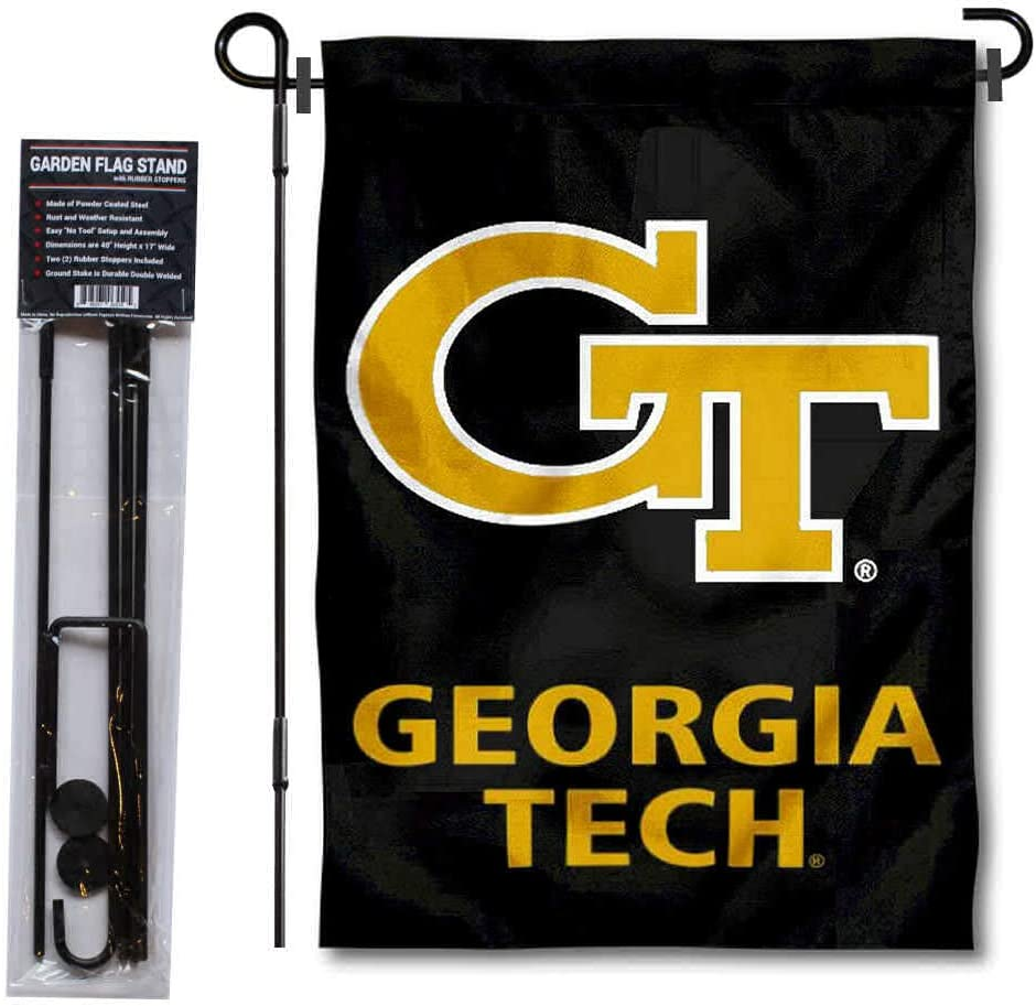 College Flags & Banners Co. Georgia Tech Yellow Jackets Garden Flag and Flag Stand Pole Holder Set