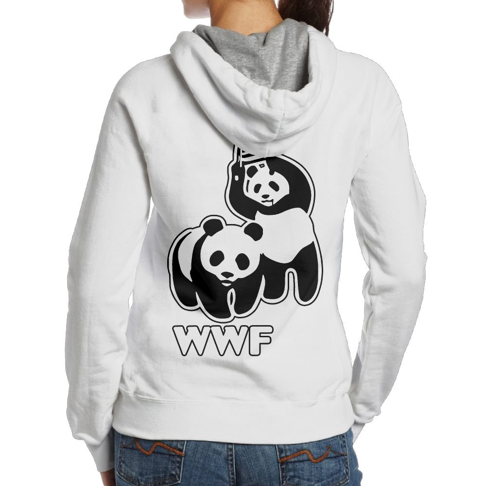 LXMHHoodie WWF Funny Panda Bear Wrestling Womens Hoodies Back Print Pullover Hood