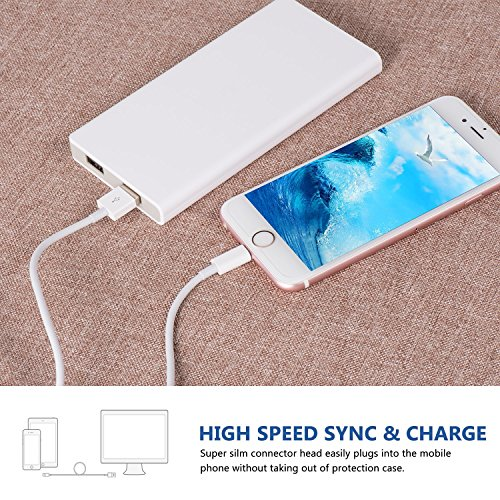 Xcords iPhone Charger 5Pack 6Foot Lightning Cable 8-Pin Lightning to USB Charging Cord Compatible with iPhone 7 7 Plus 6 6s 6 Plus 6s Plus iPhone 5 5s 5c iPad iPod and More (White)