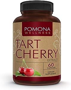 Pomona Wellness Tart Cherry Supplement, Antioxidant Support, Muscle Recovery, Fruit Vitamin, Gluten-Free, Non-GMO, Vegan, 60 Capsule Bottle