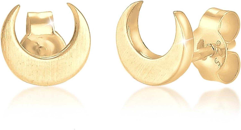 Elli Pendientes Pendientes de media luna en plata esterlina 925 bañada en oro rosa