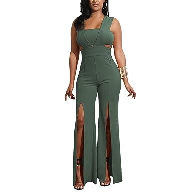 3f3fbcda0b7 Wancy Womens Sexy Summer Sleeveless High Waist Slit Wide Leg Long Pants Jumpsuits  Rompers Clubwear Green