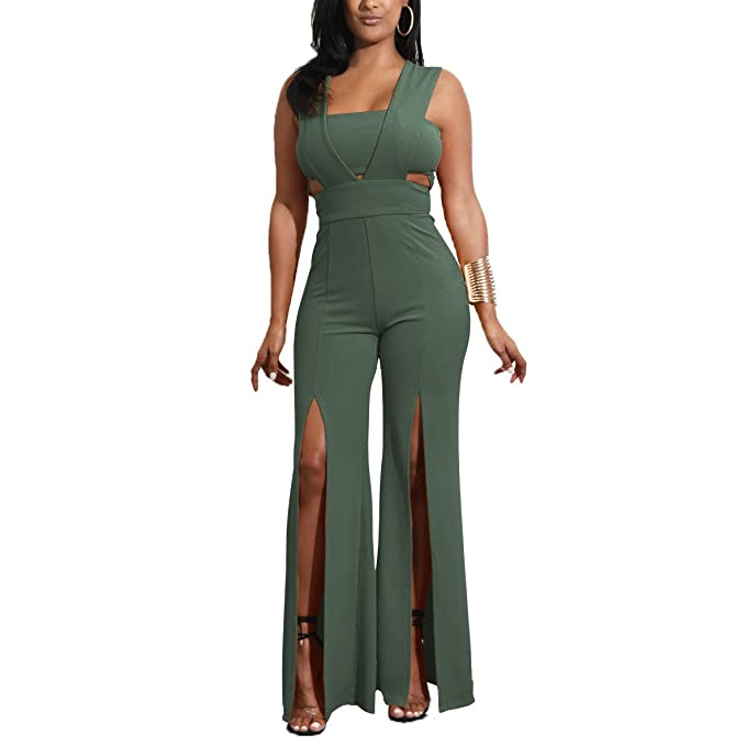 Amazon.com: Salimdy - Mono de pierna ancha para mujer, sexy ...